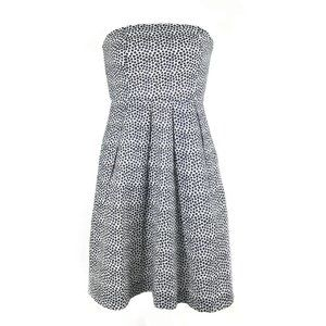 J Crew Strapless Seersucker Polka Dress Size 12P